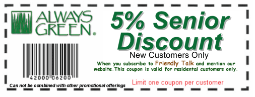 always green senior discount coupon